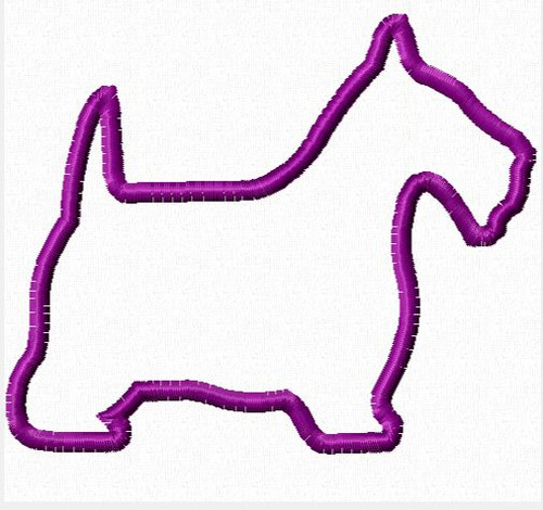 Scottie Dog Applique Embroidery Design