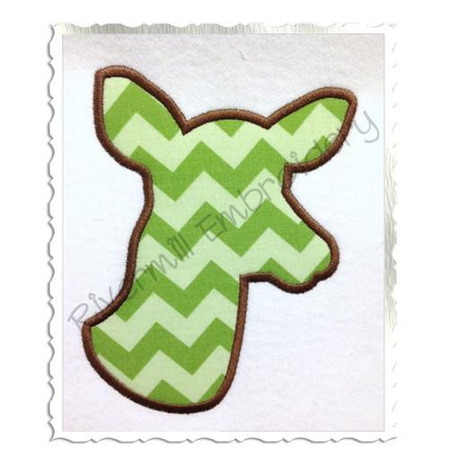 Applique Deer Head Doe Silhouette Machine Embroidery Design