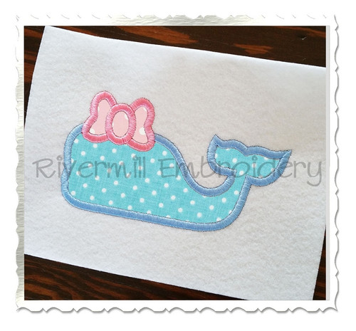 Applique Whale Silhouette With a Bow Machine Embroidery Design