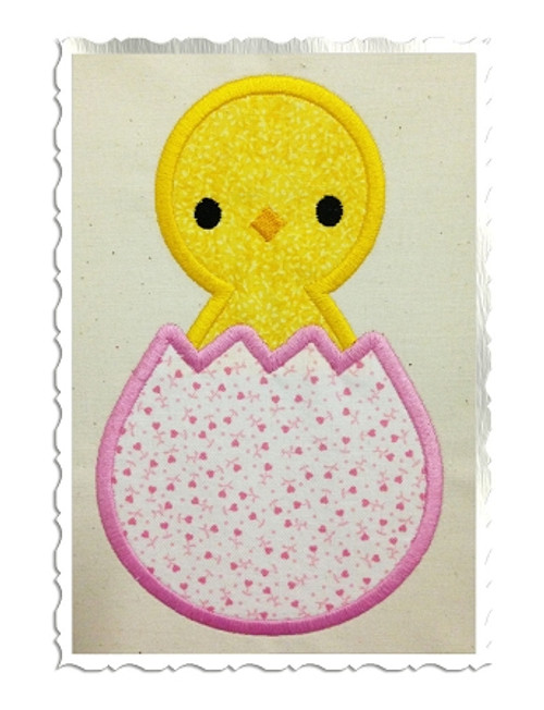 Easter Chick In Egg Applique Machine Embroidery Design