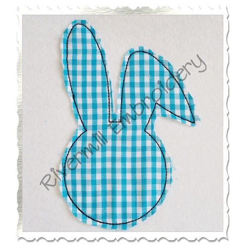 Raggy Bunny Head Applique Machine Embroidery Design