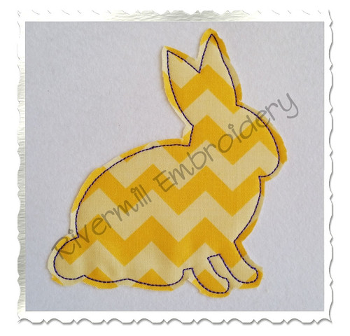 Raggy Rabbit Silhouette Applique Machine Embroidery Design