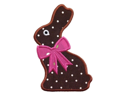 Chocolate Bunny With A Bow Applique Machine Embroidery Design
