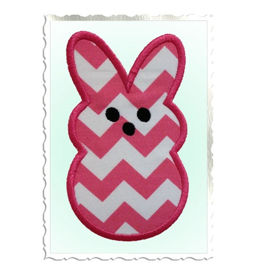 Bunny Shaped Marshmallow Candy Applique Machine Embroidery Design
