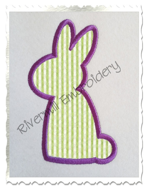 Bunny Silhouette Applique Machine Embroidery Design