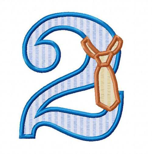 Applique Necktie Birthday Numbers Machine Embroidery Designs