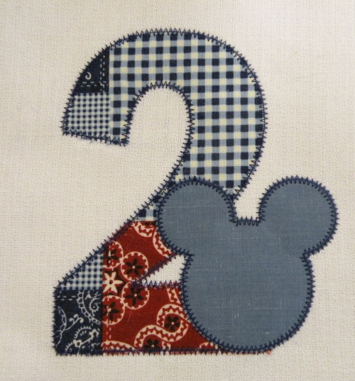 Mouse Ears Zig Zag Applique Numbers Embroidery Designs