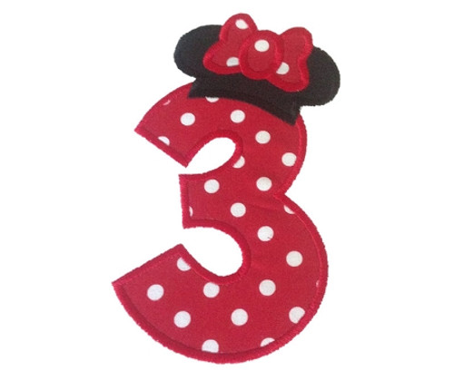 Minnie Ears Hat Applique Numbers Machine Embroidery Designs