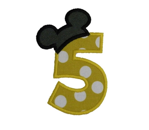 Mickey Ear Hat Applique Numbers Machine Embroidery Designs