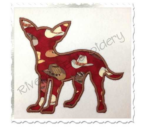 Applique Chihuahua Dog Silhouette Machine Embroidery Design