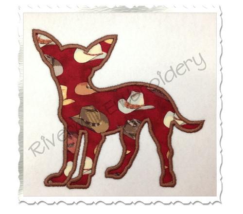 Applique Chihuahua Dog Silhouette Machine Embroidery Design