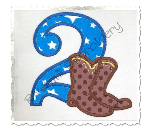 Cowboy Boots Applique Numbers Machine Embroidery Designs