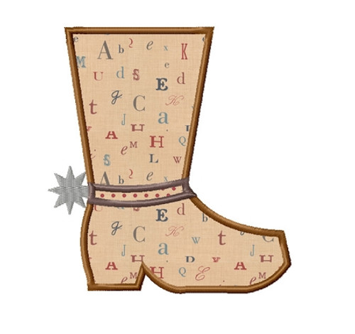 Cowboy Boot Applique Machine Embroidery Design