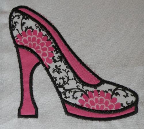 High Heel Shoe Applique Machine Embroidery Design