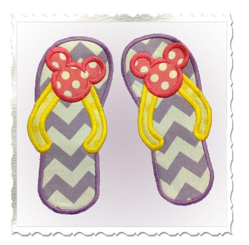 Mouse Ear Flip Flops Applique Machine Embroidery Design