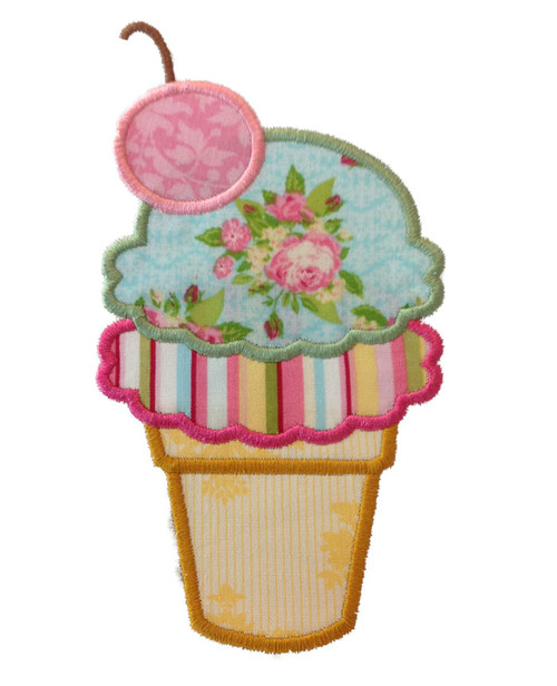 Double Scoop Ice Cream Cone Applique Machine Embroidery Design