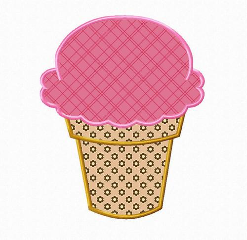 Ice Cream Cone Applique Machine Embroidery Design