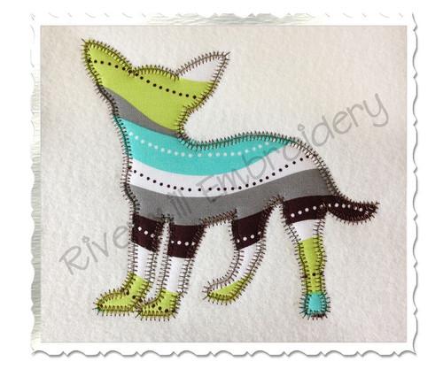 Zig Zag Applique Chihuahua Dog Silhouette Machine Embroidery Design