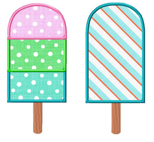 Popsicle Applique Machine Embroidery Design
