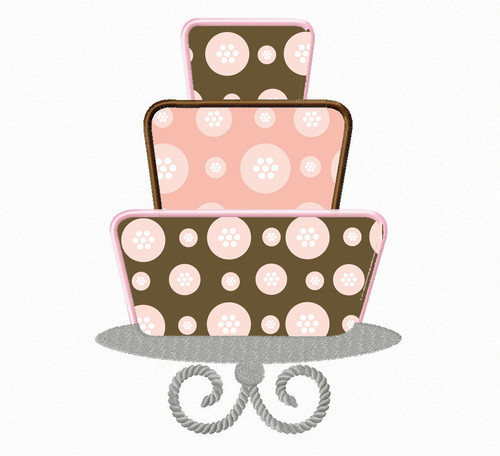 Three Tiered Cake On Stand Applique Machine Embroidery Design