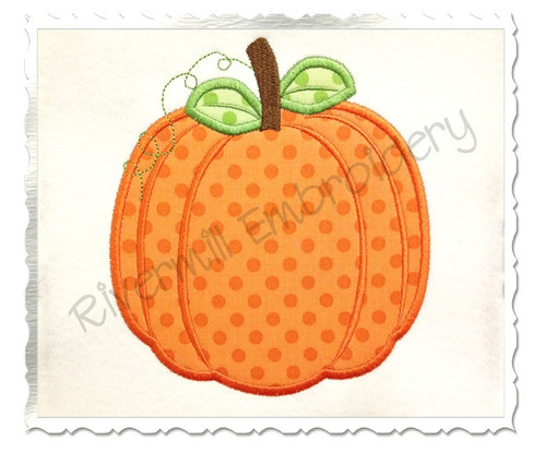 Pumpkin Applique Machine Embroidery Design (Style #2)