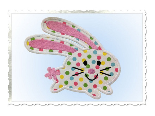 Running Bunny Applique Machine Embroidery Design