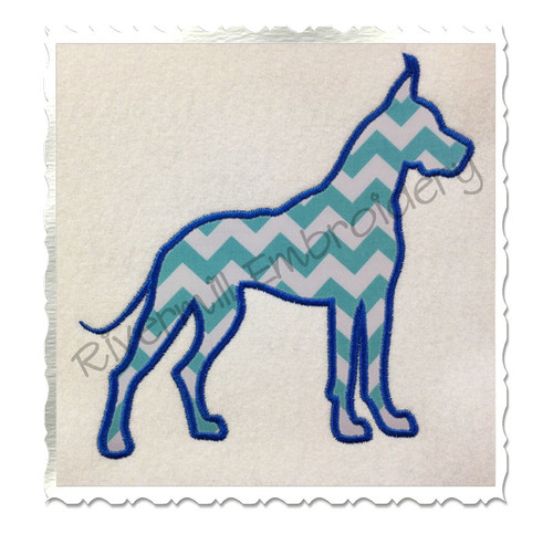 Applique Great Dane Dog Silhouette Machine Embroidery Design
