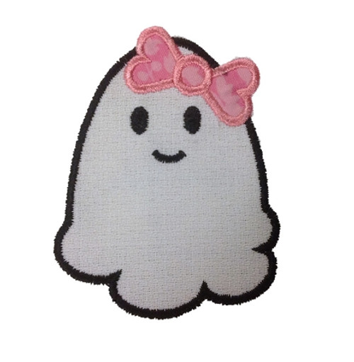 Girly Ghost With Bow Applique Machine Embroidery Design