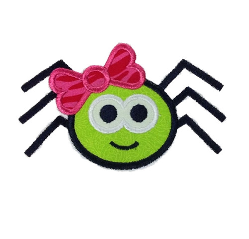 Applique Spider With Bow Halloween Machine Embroidery Design