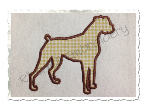 Applique Boxer Dog Silhouette Machine Embroidery Design