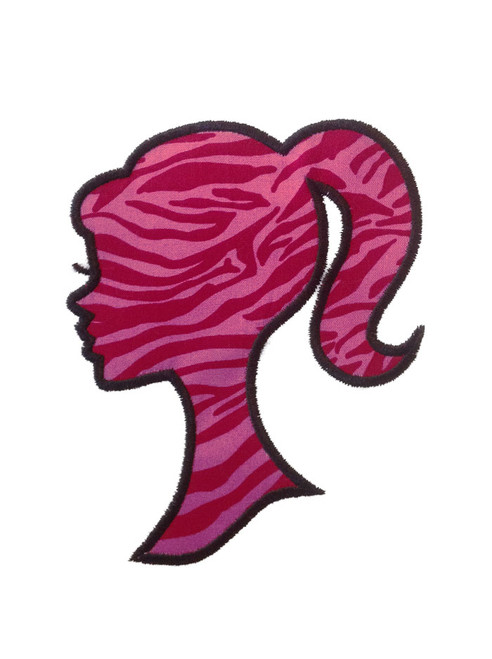 Silhouette Girl With Ponytail Applique Machine Embroidery Design
