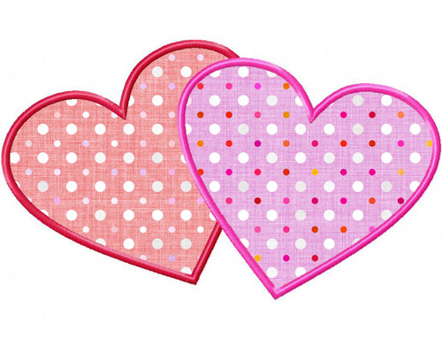 Two Hearts Applique Machine Embroidery Design