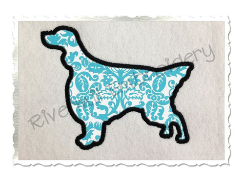 Applique English Setter Dog Silhouette Machine Embroidery Design