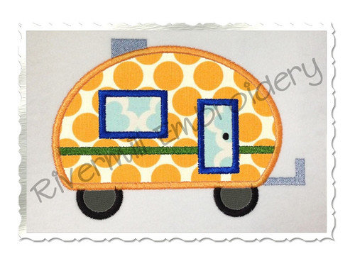 Applique Camper Machine Embroidery Design