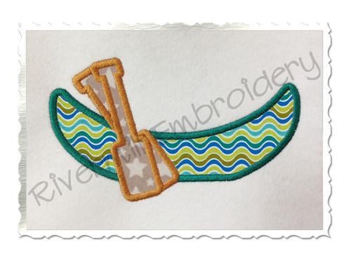 Applique Canoe Machine Embroidery Design