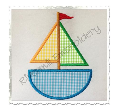 Applique Sailboat Machine Embroidery Design