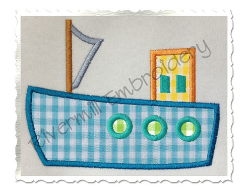 Applique Boat Machine Embroidery Design