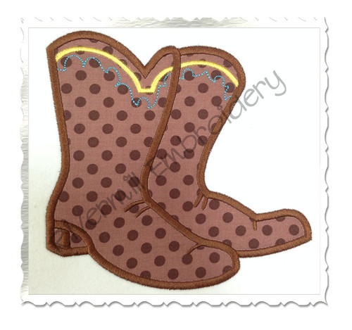 Applique Cowboy Boots Machine Embroidery Design