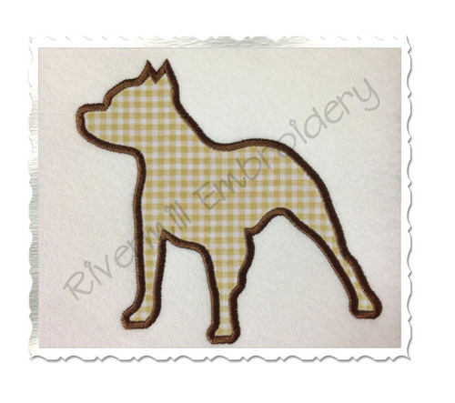 Applique Pit Bull Dog Silhouette Machine Embroidery Design