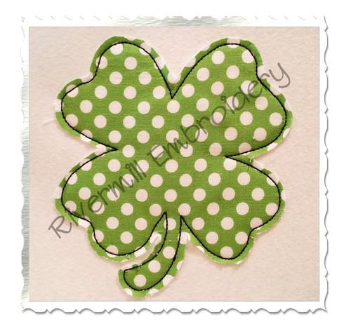 Four Leaf Clover Raggy Applique Machine Embroidery Design