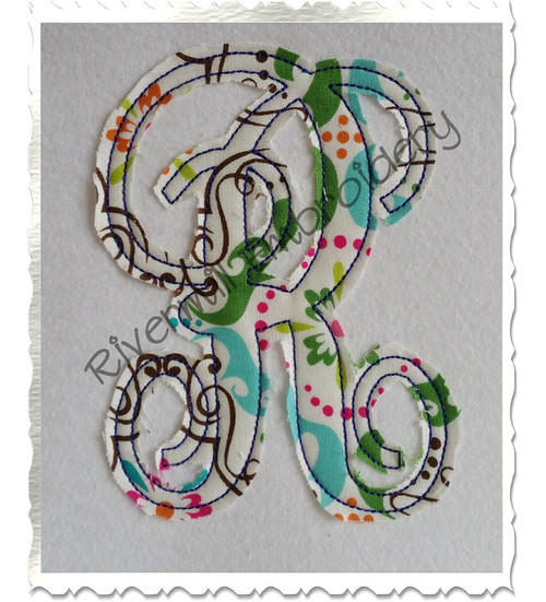 Raggy Fancy Monogram Applique Machine Embroidery Alphabet Font