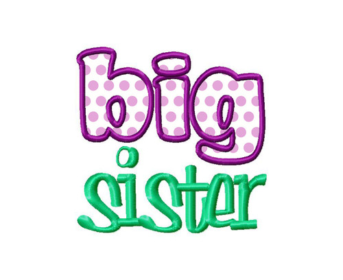 Big Sister Applique Machine Embroidery Design