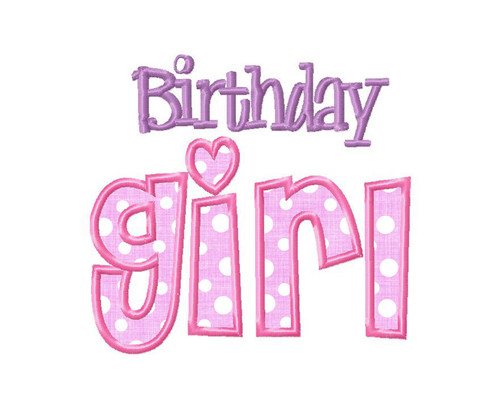 Birthday Girl Applique Machine Embroidery Design