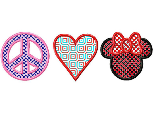Peace Love And Minnie Applique Machine Embroidery Design
