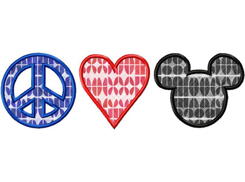 Peace Love Mouse Applique Machine Embroidery Design