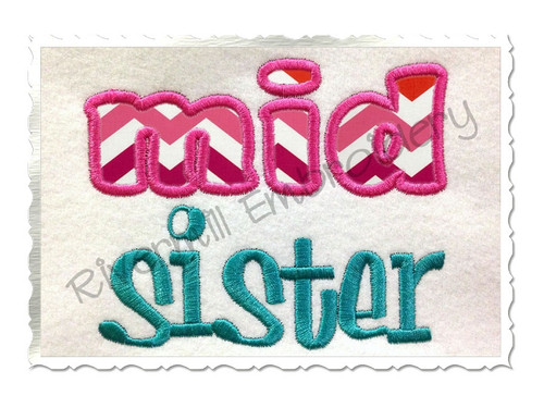 Middle Mid Sister Applique Machine Embroidery Design