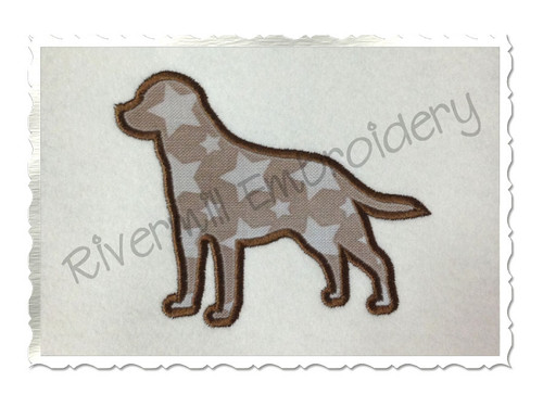 Applique Labrador Retriever Dog Silhouette Machine Embroidery Design