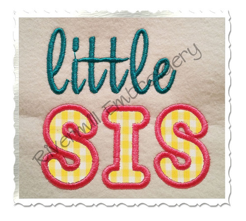 Little Sis Applique Machine Embroidery Design