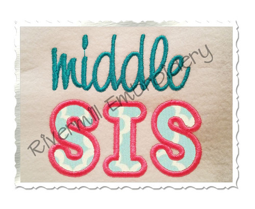 Middle Sis Applique Machine Embroidery Design