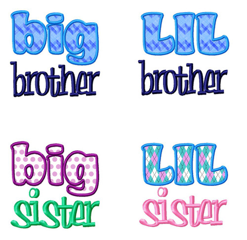 4 Pack Sibling Designs - Little & Big Brother & Sister